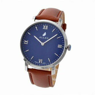 62013d6cbb0 Ares ALLES wwas391h01d06f02 men watch unisex watch 39mm Rome index navy /  silver brown calf leather belt