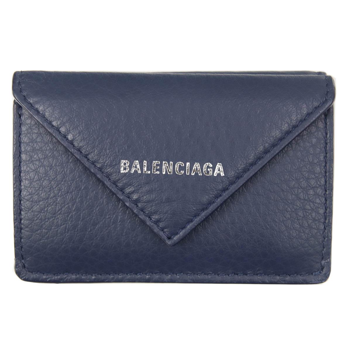 バレンシアガ balenciaga 財布 三つ折り財布 ミニ財布 レザー 本革 レディース ペーパーウォレット ミニウォレット ネイビー 391446 DLQ0N 4222 正規品 セール 2018 シンプル 母の日ギフトブランド