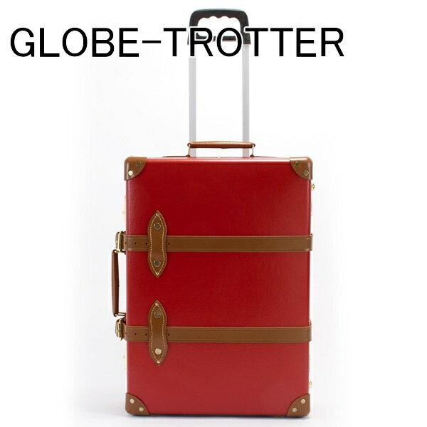 【若干の傷がある訳ありアイテム】グローブトロッター GLOBE-TROTTER スーツケース CENTENARY センテナリー 木製ハンドル キャリーケース TROLLEY CASE レッド/タン GTCNTRT21TC RED/TAN