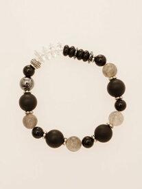 フロストリーンブレス エスニック チャイハネ 公式 CHGZ7308多種類の天然石やビーズを組み合わせた、フロスト加工を施したブラックオニキスが目を引くデザイン。個性が光る数珠ブレスレットです。男性にオススメ。着脱しやすいゴムタイプ。