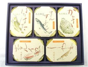 天の橋立 ギフト用 5個セット 缶詰 (105g×5種類) ギフトセット 水産物 箱・包装紙付き 竹中缶詰