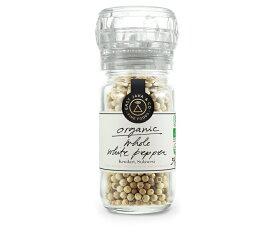 オーガニック ホワイトペッパー (粒) 54g ミル付き Organic Whole White Pepper Mill 54g USDA, EU, JAS