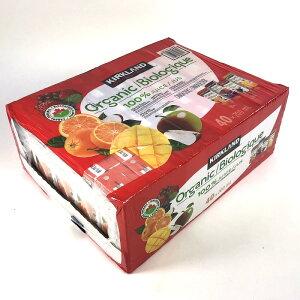 カークランド オーガニック 100%ジュース 200ml×40本(オレンジ、ミックスベリー、アップル、マンゴーオレンジ 各10本)