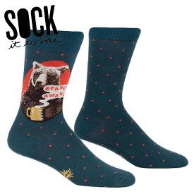 【メール便対応】Sock It To Me[ソック イット トゥ ミー] Bearly Awake ソックス メンズ 靴下 総柄