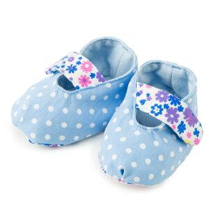 ベビーシューズ 水玉(水色地に白ドット)【ファーストシューズ ルームシューズ ベビー靴】(赤ちゃん ベビー 出産祝い女の子)