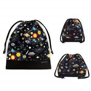 巾着3点セット 太陽系惑星とコスモプラネタリウム(ブラック)