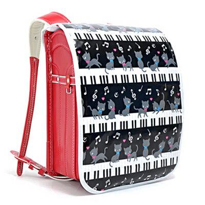 ランドセルカバー ピアノの上で踊る黒猫ワルツ(ブラック) (ランドセルカバー 女の子 ランドセル カバー 雨 撥水 かわいい おしゃれ セイバン 天使の羽 ラブピ モデルロイヤル ワンパ)