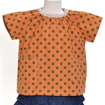 半袖スモック 子供用 100cm 半袖 スモック 幼稚園 エプロン 小学生子供 書道 美術 おしゃれ スモック 夏 大粒キャンディ・ポルカドット(キャロット) オレンジ 女の子