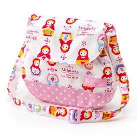 ベビーショルダーバッグ 幸せいっぱいラブリーマトリョーシカ(ホワイト) (お出かけ 赤ちゃん 外出 バッグ おでかけバック ベビーポシェット ななめがけポーチ 赤ちゃん ベビー 新生児 出産祝い ギフト 女の子)
