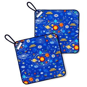 ループタオル お揃い2枚セット 太陽系惑星とコスモプラネタリウム(ロイヤルブルー) (ループタオル ループ付きタオル 紐付きタオル ハンドタオル 保育園 幼稚園 かわいい 今治 タオル