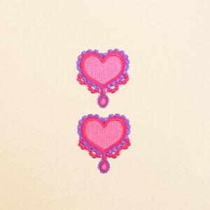 ワッペン ハートジュエリー (2個セット) 子供用 ワッペン アイロン アップリケ 幼児 子供 かわいい おしゃれ
