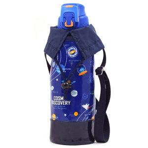 水筒カバー ラージタイプ 太陽系惑星とコスモプラネタリウム(ロイヤルブルー) (水筒カバー ショルダー 子供 ラージ 水筒 カバー 肩掛け 水筒 ケース ボトルカバー 水筒ケース 800ml 1 リッ