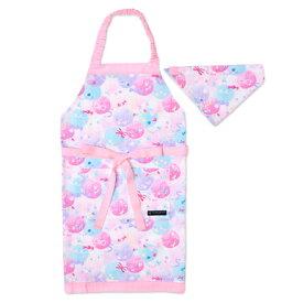子どもエプロン 子供用 130〜160cm 子供 エプロン 三角巾 セット ゴム キッズエプロン 子供用 おしゃれ 幼児 小学生 かわいい キャンディポップ ピンク 女の子
