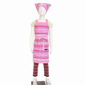 子どもエプロン 子供用 130〜160cm 子供 エプロン 三角巾 セット ゴム キッズエプロン 子供用 おしゃれ 幼児 小学生 かわいい 奏でるメロディー弾ける水玉リズム(ピンク) ピンク 女の子