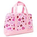 セミボストン(プールバッグ) ハートとリボンのきらきらビューティー(ピンク)【手提げバッグ ビーチバッグ ビニールバッグ】(子供 小学生 女の子)