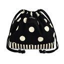 decorPolkaDot 巾着(中サイズ) polka dot large(twill・black)×narrow stripe(twill・black)
