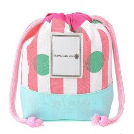 巾着 小 ドット&ストライプ・ピンク コップ袋 巾着 コップ入れ 巾着袋 小 保育園 コップ 袋 幼稚園 男の子 入園準備