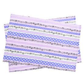 ランチョンマット(2枚セット) ラージタイプ 奏でるメロディー弾ける水玉リズム(ラベンダー)  (ナフキン 小学校 幼稚園 ランチョンマット ランチクロス テーブル クロス 大きめ 大判 ラージ 女の子 入園準備 紫)