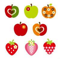 お名前シール(スタンダード 撥水 96ピース) おしゃれリンゴとスイートストロベリー【代引不可 送料無料 クロネコDM便】 (おなまえシール ネームラベル 子供 幼児 小学生 幼稚園 女の子 入学祝い)