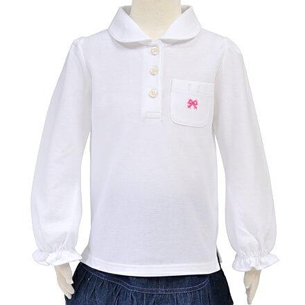 ポロシャツ(長袖) ホワイト×Wリボン・ピンク(刺繍入り) (スクールポロシャツ 子供 白 ポロシャツ 綿100 コットン 名札 通学 キッズ 小学生 女の子)