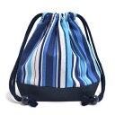 巾着袋・小 コップ袋 オーシャンブリーズ × 帆布・紺