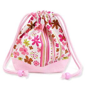 巾着袋 子供用 小 コップ入れ コップ袋 巾着 コップ入れ 巾着袋 小 保育園 コップ 袋 幼稚園 入園準備 スカンジナビアのフラワーパーク(ピンク) ピンク 女の子