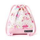 巾着袋・小 コップ袋 アフタヌーンデザートのフラワーガーデン(ホワイト) × オックス・ピンク