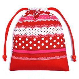 巾着袋 子供用 マチ無し給食袋 巾着袋 中 小学校 お袋袋 給食袋 小学生 かわいい 入園準備 入園グッズ リボンとレースの水玉ハーモニー(レッド) レッド 女の子