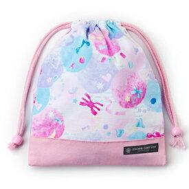 巾着袋 子供用 マチ無し給食袋 巾着袋 中 小学校 お袋袋 給食袋 小学生 かわいい 入園準備 入園グッズ キャンディポップ ピンク 女の子