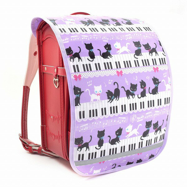 ランドセルカバー ピアノの上で踊る黒猫ワルツ(ピンク) (ランドセル カバー 子供 キッズ 小学生 女の子 入学祝い)