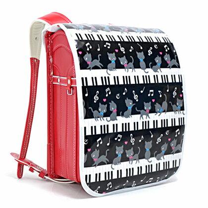 ランドセルカバー ピアノの上で踊る黒猫ワルツ(ブラック) (ランドセルカバー 女の子 ランドセル カバー 雨 撥水 かわいい おしゃれ セイバン 天使の羽 ラブピ モデルロイヤル ワンパ ピアノ 猫 モノトーン)