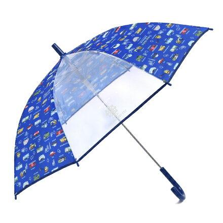 ジャンプ傘(55cm) アクセル全開はたらく車(ロイヤルブルー) (レイングッズ 子供用かさ アンブレラ レインパラソル 雨傘 雨具 子ども 子供 キッズ 幼児 小学生 幼稚園 男の子 入学祝い)