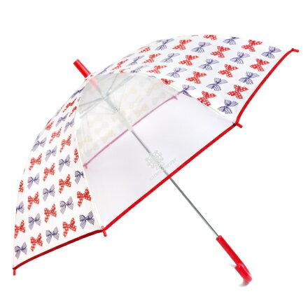 ジャンプ傘(55cm) ポルカドットとストライプのフレンチリボン(ホワイト) (レイングッズ 子供用かさ アンブレラ レインパラソル 雨傘 雨具 子ども 子供 キッズ 幼児 小学生 幼稚園 女の子)