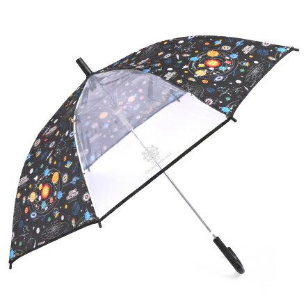 ジャンプ傘(55cm) 太陽系惑星とコスモプラネタリウム(ブラック) (レイングッズ 子供用かさ アンブレラ レインパラソル 雨傘 雨具 子ども 子供 キッズ 幼児 小学生 幼稚園 男の子)