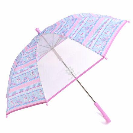 手開き傘(45cm) レースチュールとメリーゴーランド(ライトブルー) (レイングッズ 子供用かさ アンブレラ レインパラソル 雨傘 雨具 子ども 子供 キッズ 幼児 小学生 幼稚園 女の子 入学祝い)