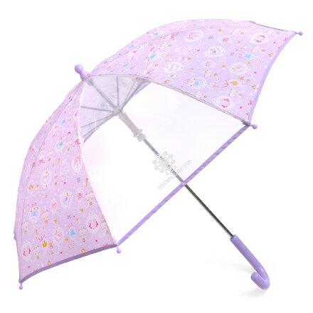 手開き傘(45cm) レース模様にprettyバレリーナ(ラベンダー) (レイングッズ 子供用かさ アンブレラ レインパラソル 雨傘 雨具 子ども 子供 キッズ 幼児 小学生 幼稚園 女の子)