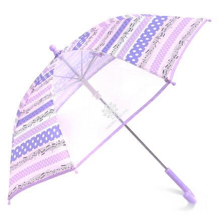 手開き傘(45cm) 奏でるメロディー弾ける水玉リズム(ラベンダー) (レイングッズ 子供用かさ アンブレラ レインパラソル 雨傘 雨具 子ども 子供 キッズ 幼児 小学生 幼稚園 女の子 入学祝い)
