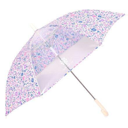 ジャンプ傘(55cm) フラワー模様のエアリーシャワー (レイングッズ 子供用かさ アンブレラ 透明窓 グラスファイバー ネームタグ 雨傘 雨具 子ども 子供 キッズ ジュニア 幼児 小学生 幼稚園 女の子 入園 入学祝い)