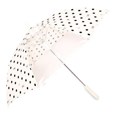 ジャンプ傘(55cm) decor PolkaDot(white) (レイングッズ 子供用かさ アンブレラ 透明窓 グラスファイバー ネームタグ 雨傘 雨具 子ども 子供 キッズ ジュニア 幼児 小学生 幼稚園 女の子 入園 入学祝い)