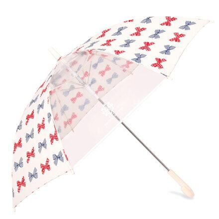 ジャンプ傘(55cm) ポルカドットとストライプのフレンチリボン (レイングッズ 子供用かさ アンブレラ 透明窓 グラスファイバー ネームタグ 雨傘 雨具 子ども 子供 キッズ ジュニア 幼児 小学生 幼稚園 女の子 入園 入学祝い)