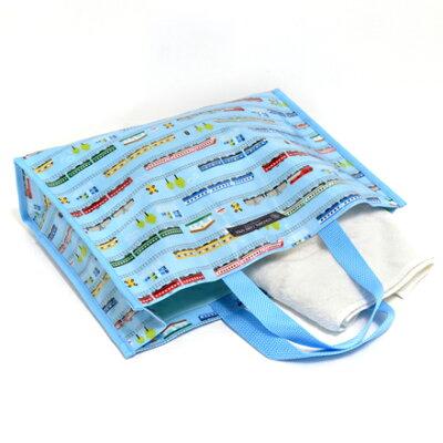 おしゃれkidsのプールバッグ・マチ付きラミネートバッグ超特急ドリームエクスプレス(ライトブルー)日本製