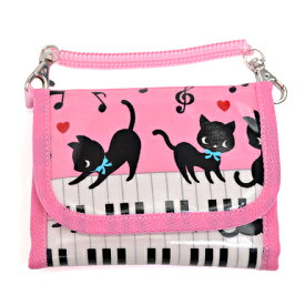 キッズウォレット(財布) チェーン付き ピアノの上で踊る黒猫ワルツ(ピンク) (お財布 キッズ 子供 財布 女の子 小学生 キッズウォレット チェーン コインケース こども 紐付き 中学生 子ども ピアノ 猫 ピンク)