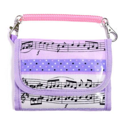 キッズウォレット(財布) チェーン付き 奏でるメロディー弾ける水玉リズム(ラベンダー) (お財布 キッズ 子供 財布 女の子 小学生 キッズウォレット チェーン コインケース こども 紐付き 中学生 子ども 紫)