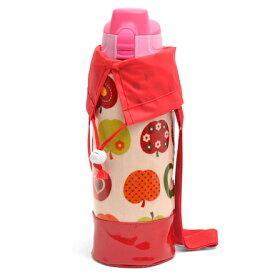 【今だけポイント5倍】水筒カバー ラージタイプ おしゃれリンゴのひみつ(アイボリー) (水筒カバー ショルダー 子供 ラージ 水筒 カバー 肩掛け 水筒 ケース ボトルカバー 水筒ケース 800ml 1 リットル 女の子 アップル)