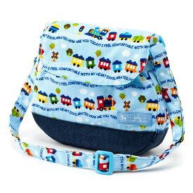 ベビーショルダーバッグ カラフル列車で行こう(ライトブルー) (お出かけ 赤ちゃん 外出 バッグ おでかけバック ベビーポシェット ななめがけポーチ 赤ちゃん ベビー 新生児 出産祝い ギフト 男の子)
