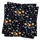 ランチクロス・給食ナフキン(45cm×45cm) 太陽系惑星とコスモプラネタリウム(ブラック)