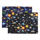 ランチョンマット(25cm×35cm) 柄違い2枚セット 太陽系惑星と恐竜大陸セット