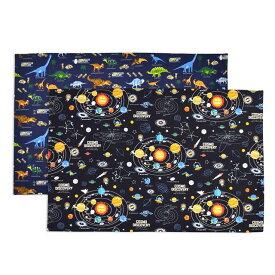 ランチョンマット(40cm×60cm) 柄違い2枚セット 太陽系惑星と恐竜大陸セット 子供用 ナフキン 小学校 幼稚園 給食 ランチクロス テーブル クロス 給食 ランチマット 大きめ 大判 ラージ