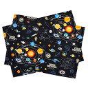 ランチョンマット(25cm×35cm) 太陽系惑星とコスモプラネタリウム(ブラック)