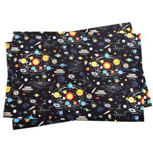 ランチョンマット(2枚セット) ラージタイプ 太陽系惑星とコスモプラネタリウム(ブラック) (ナフキン 小学校 幼稚園 ランチョンマット ランチクロス テーブル クロス 大きめ 大判